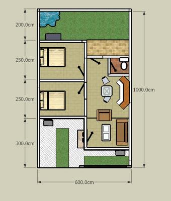 Desain Denah Rumah Diatas Lahan Yang Kecil Luas Lahan 60m2
