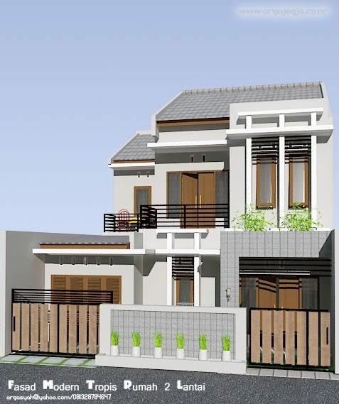 Desain Fasad Rumah 2 Lantai Modern Tropis  Blognya Wong