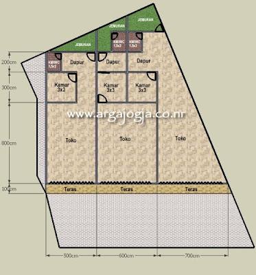 desain denah ruko 1 lantai di lahan yang tidak beraturan