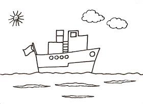 Dibujos Para Colorear Para Niños O Infantiles Son Láminas Didácticas Dibujo De Un Barco En Altamar