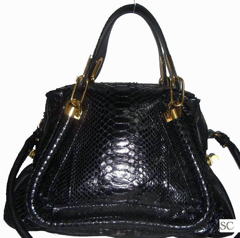 f487df225a7 Simply Chic Designer Handbag Consignments  Chloe Python Paraty Bag Black