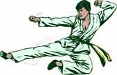 Taekwando martial arts clip art of karate kick