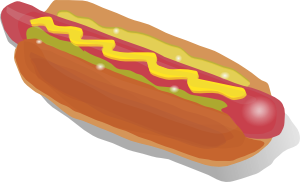 Clipart of a mustard hot dog with 2 kinds of relish
