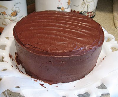 A photo of a chocolate sauerkraut cake without the topping.
