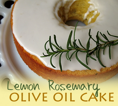 A close up photo of a lemon rosemary olive oil cake.