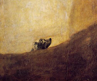 DETALLE+del+perro+enterrado - Las Pinturas negras de Francisco de Goya