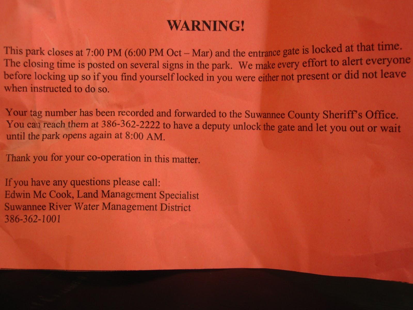 Suwannee Springs Park Locks Guests Inside