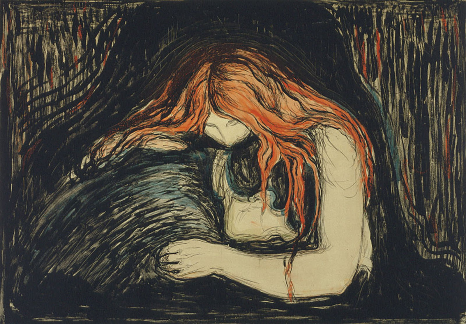 Vampire 1894 Edvard Munch hand-painted oil by PaintingMania   Vampire Edvard Munch