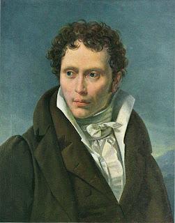 portret van Arthur Schopenhauer in 1815 door Ludwig Sigismund geschilderd