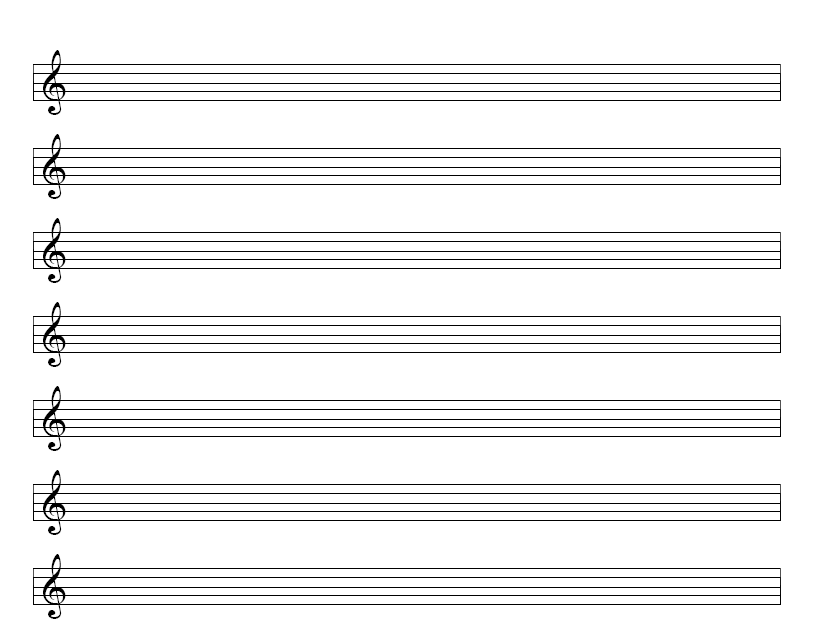 treble clef blank sheet music