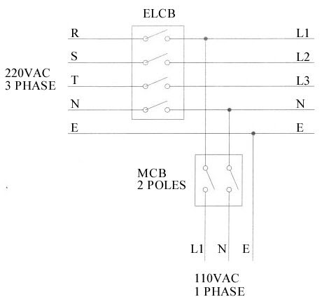 wiring diagram: 220VAC 3 Phase to 110VAC Single Phase