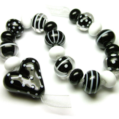 Black & White Lampwork Glass Beads