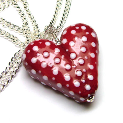 Lampwork Glass Heart Necklace
