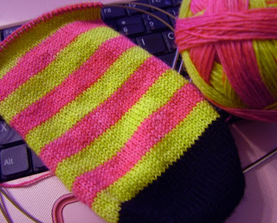 Hand knitted striped sock