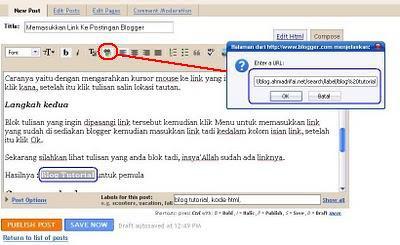 Memasukkan Link Ke Postingan Blogger