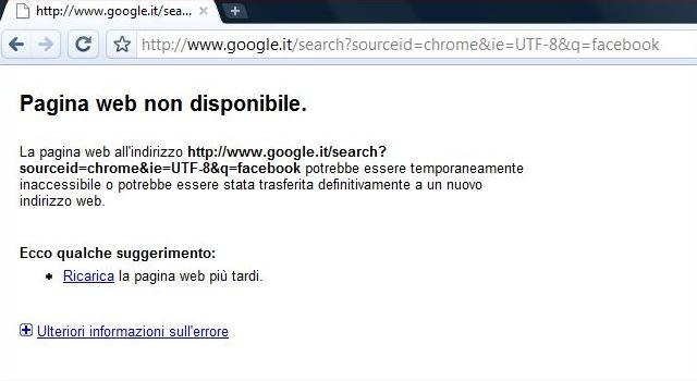 Errore DNS impossibile aprire pagina web