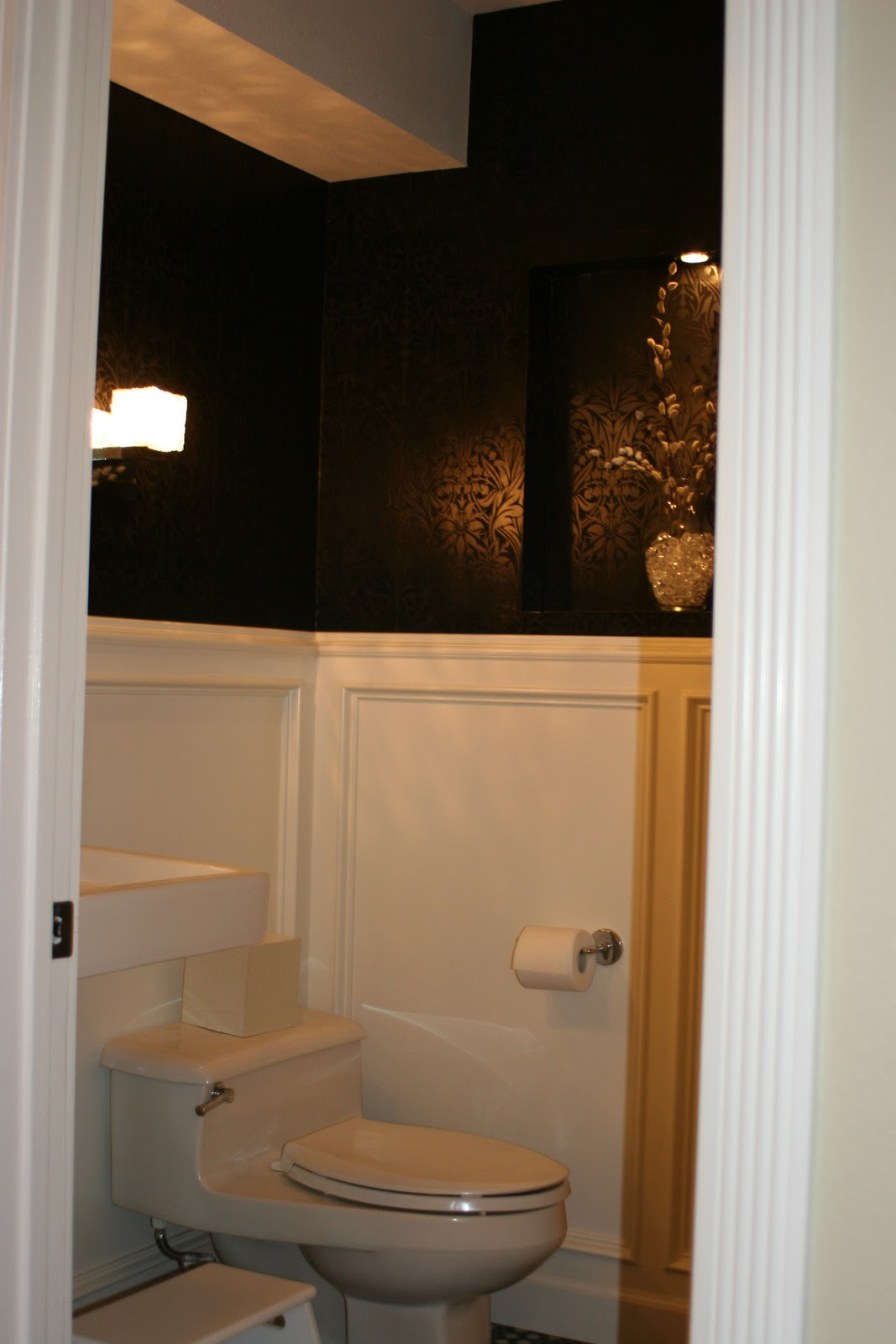 Remodelaholic Powder Room With Black And White Walls