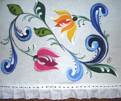 pintura em tecido pano de prato bauer