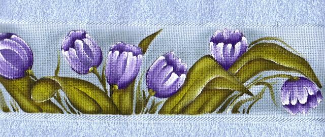 pintura em tecido jogo de toalhas