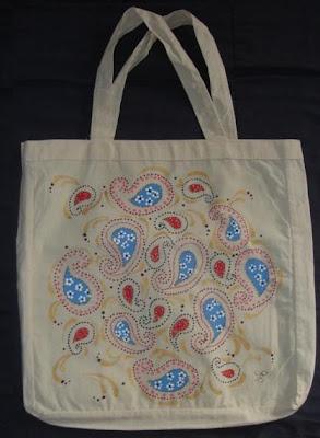 pintura em tecido bolsa