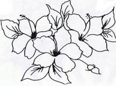 risco para pintura em tecido flores hibiscos