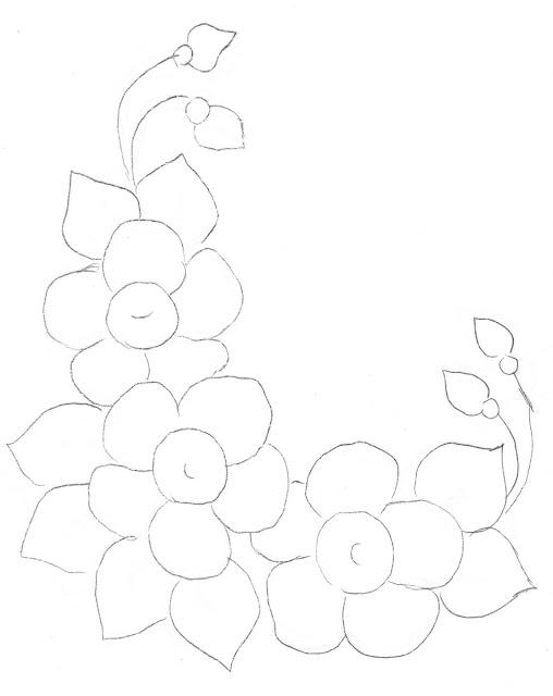 pintura em tecido flores risco flores do campo