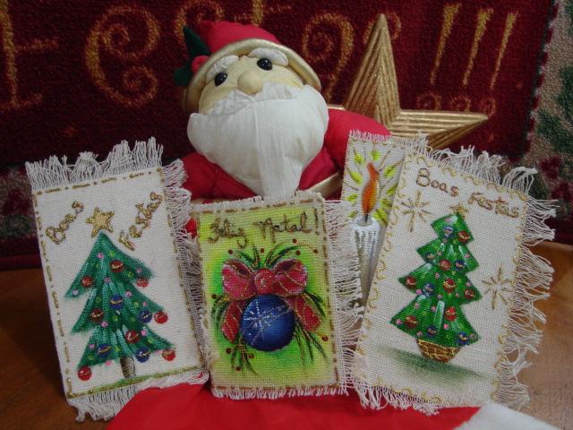 cartões de natal pintados a mão