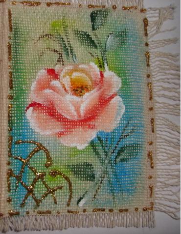 cartão de tecido pintado a mão