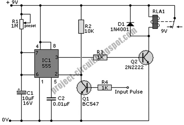 Free Project Circuit Diagram: Simple Pulse Timer Using 555 IC