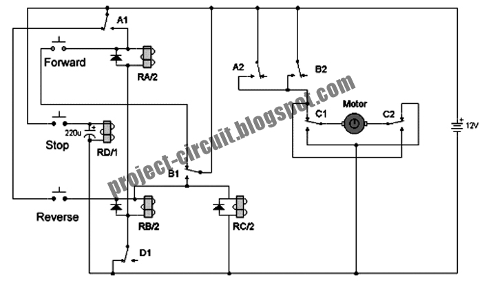 Free Project Circuit Diagram: DC Motor Reversing Circuit