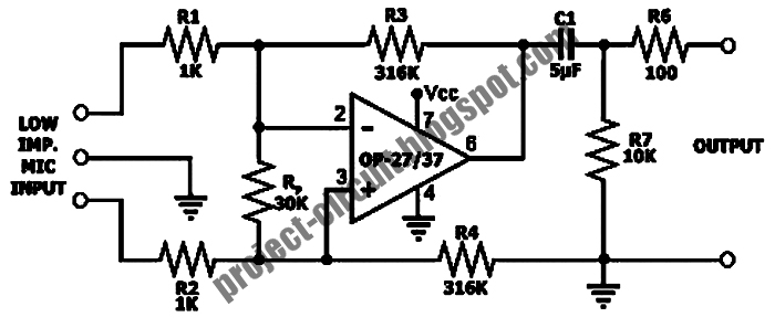 Free Project Circuit Diagram: Low Impedance Microphone