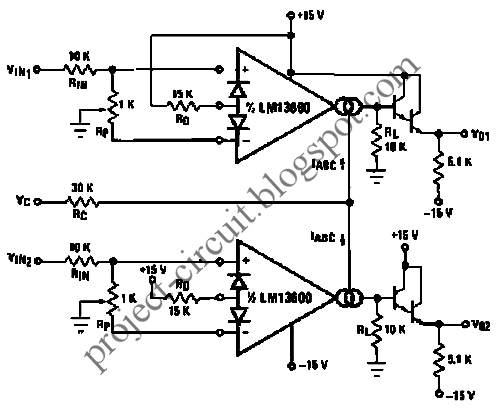free project circuit diagram  voltage controlled stereo volume control using lm13600 ota