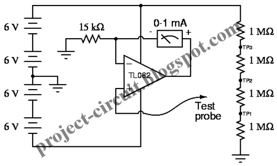 Free Project Circuit Diagram: High Impedance Voltmeter Circuit