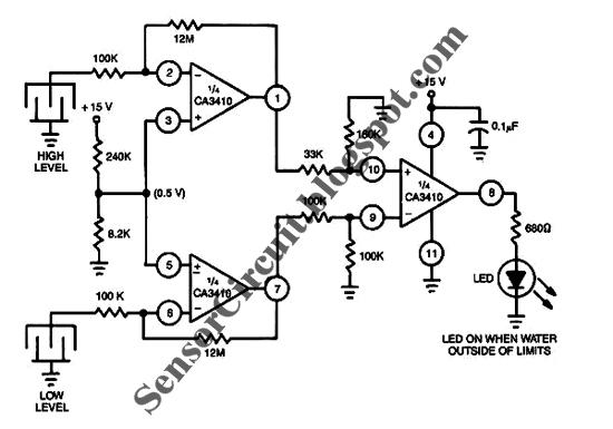 sensor schematic dual liquid level sensor circuit