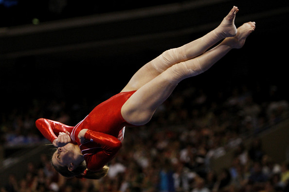 Mackenzie Caquatto competes in the floor exercise during day two of the 2008 U.S. Olympic Team Trials