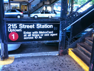 The station entrance to the 215th street IRT elevated subway station in New York City.