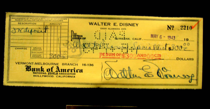 An Original Walt E Disney Personal Check Disney History