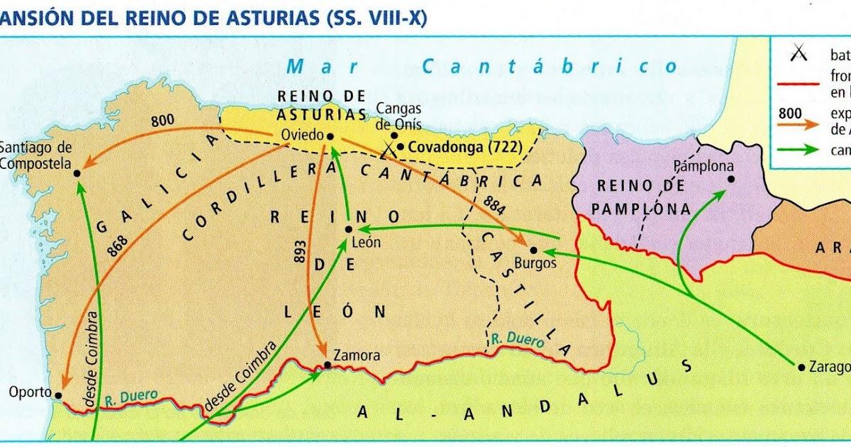 Mapa Reino De Asturias.Analisis Y Comentario De Un Mapa Historico La Expansion Del Reino De Asturias Entre Los Siglos Viii Y X