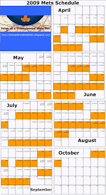 photograph relating to Mets Printable Schedule called Stories Of A Transplanted Mets Admirer: 2009 Printable Mets Timetable