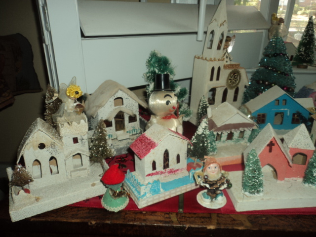 Cardboard Christmas Houses.Antique Art Garden My Vintage Christmas Village