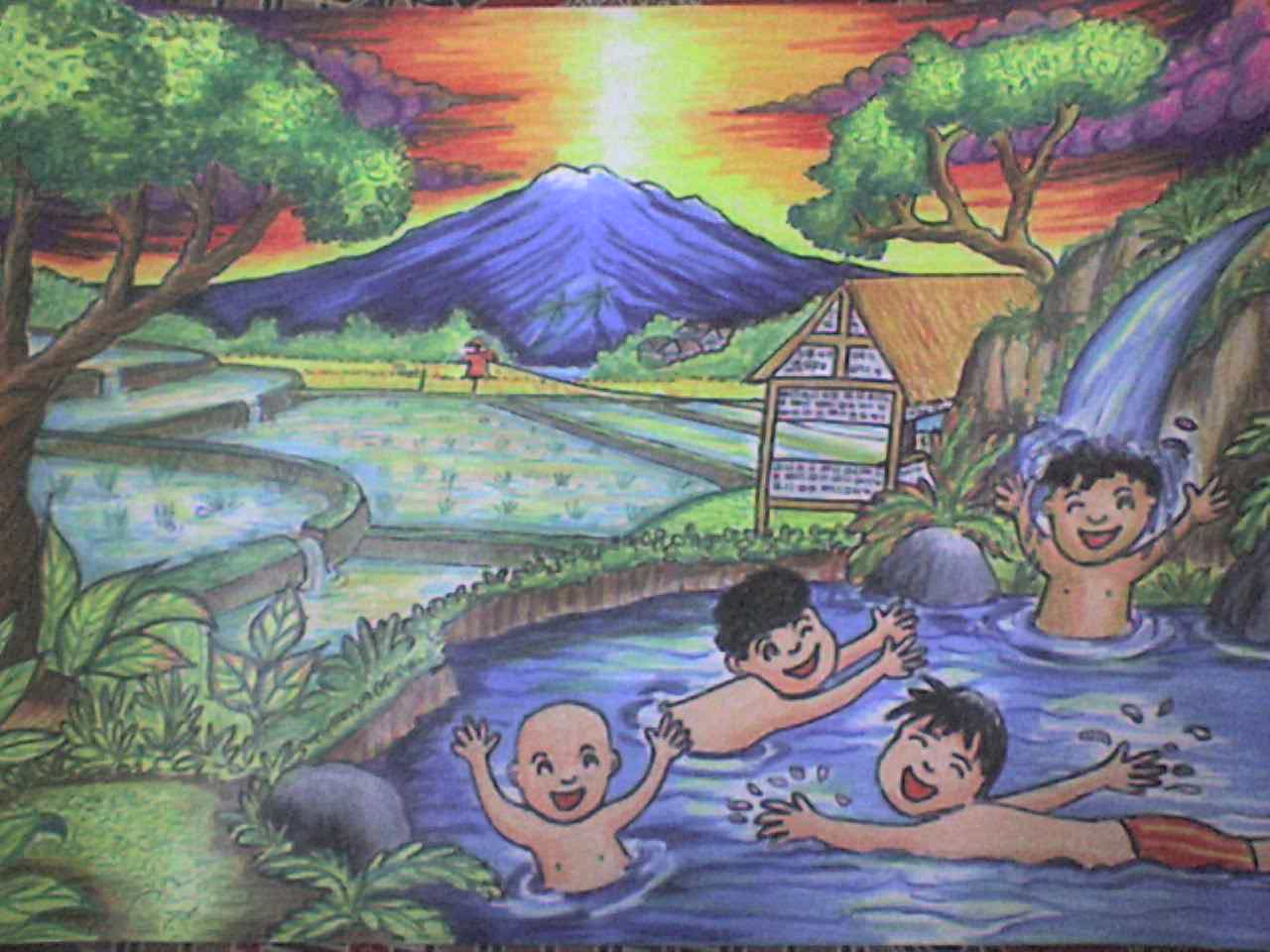 Contoh Lukisan Pemandangan Anak Sd Bliblinews Puisi Pipin Pirmansyah Ceria