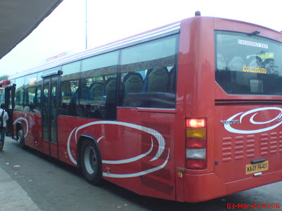 image of Bangalore city bus B7RLE volvo outside view