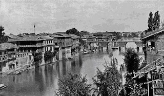 Old Photograph of bridge on Jehlum river, Srinagar, Kashmir