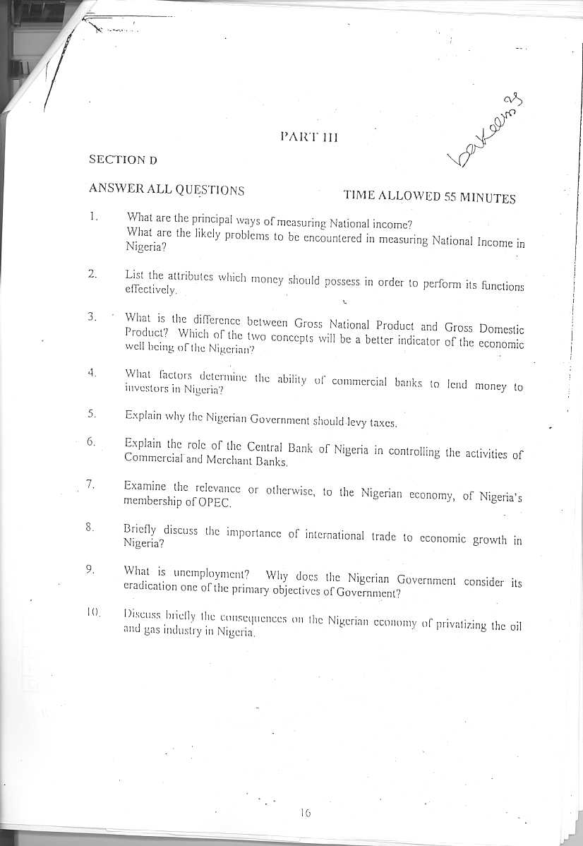 PTDF MSc Past Questions 2004/2005