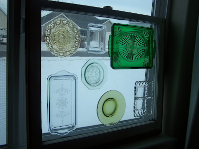 stained glass window using colored glass plates http://bec4-beyondthepicketfence.blogspot.com/2010/02/let-light-shine-through.html