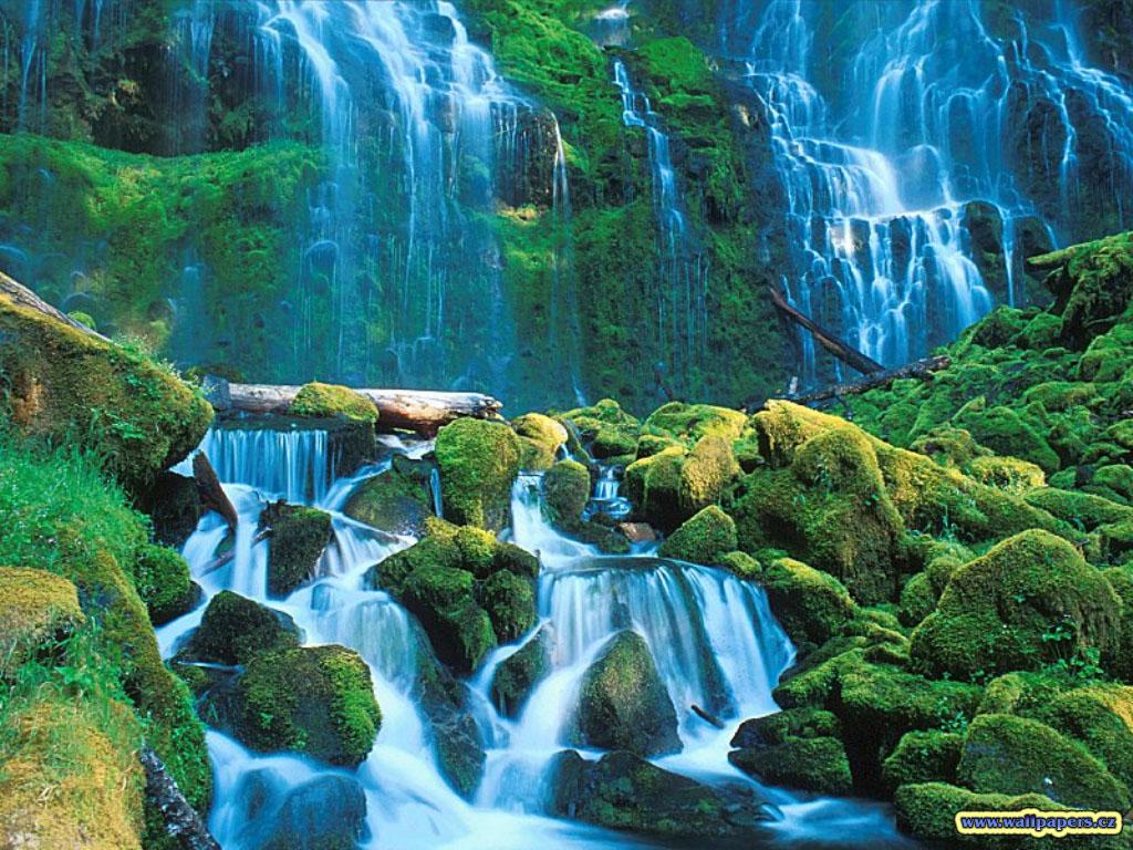Green Waterfall Wallpaper Nature Wallpaper