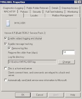 alex wassup?: Exchange 2003 : Message tracking not working