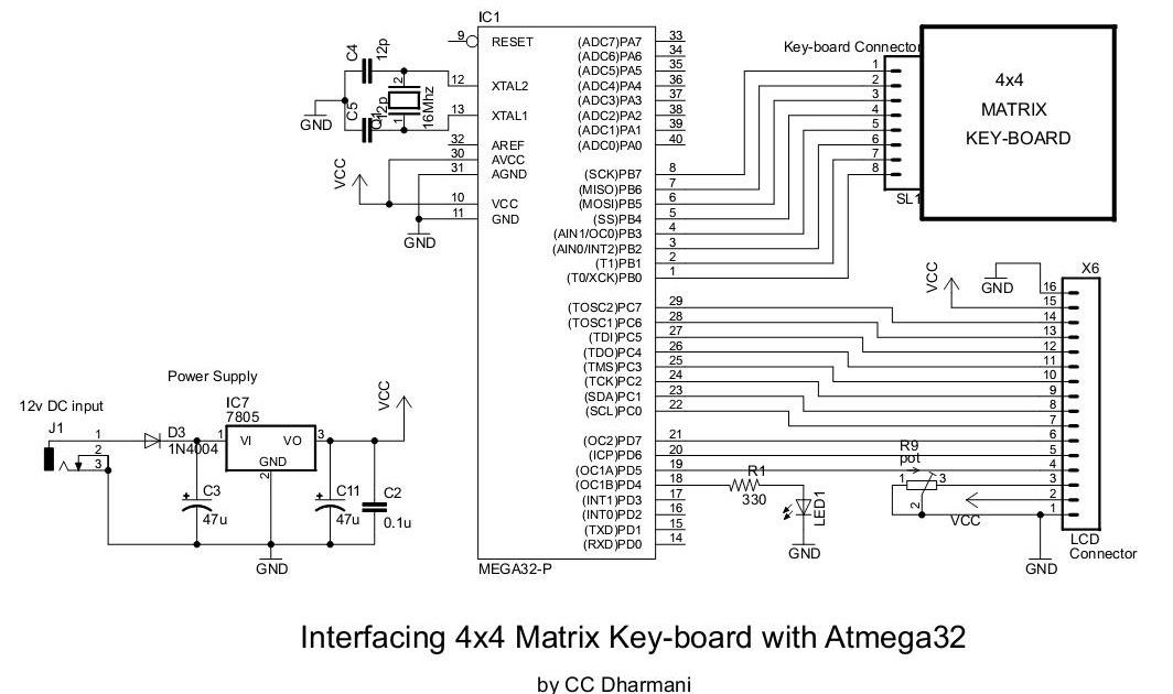 Matrix Keypad on 4x4 Matrix Keypad Circuit Schematic