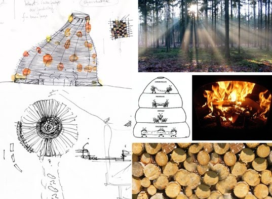 sketches, plans and renderings of the outdoor fireplace by Haugen Zohar