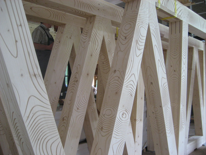 carved wood beams by architects Gramazio & Kohler